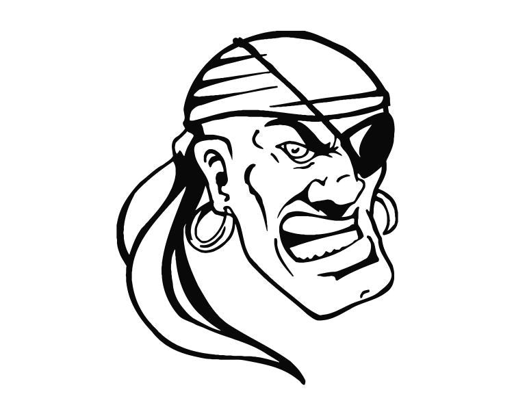 Pirate Head (ver h) Die Cut Vinyl Decal Sticker - Decals City