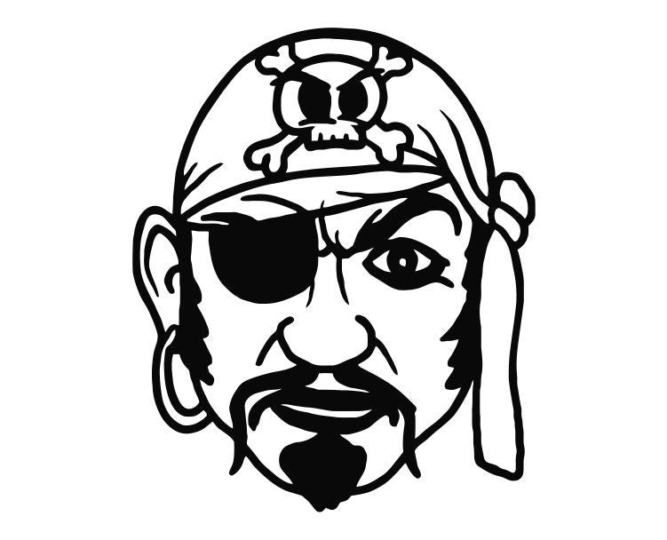 Pirate Head (ver k) Die Cut Vinyl Decal Sticker - Decals City