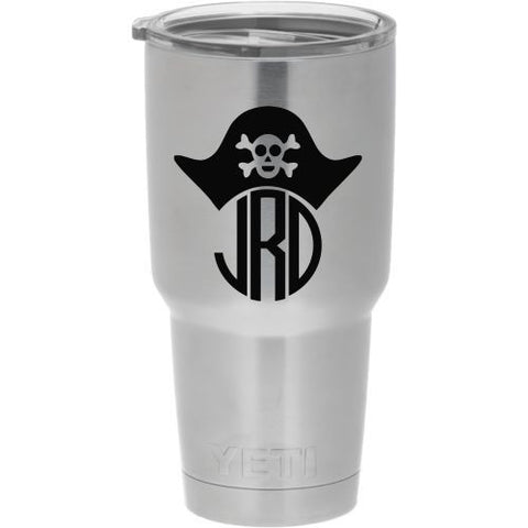 Pirate Monogram Die Cut Vinyl Decal Sticker - Decals City
