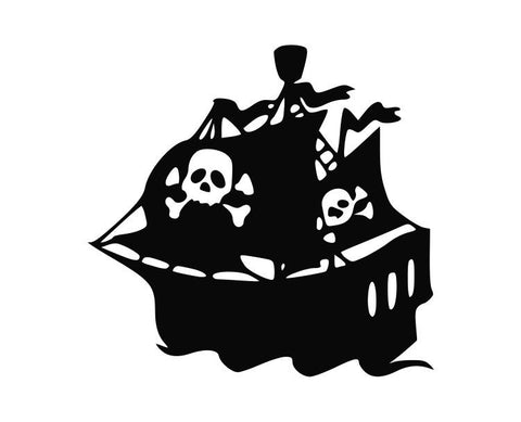Pirate Ship With Flags Die Cut Vinyl Decal Sticker