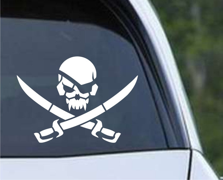 Pirate Skull and Cross Swords Die Cut Vinyl Decal Sticker - Decals City