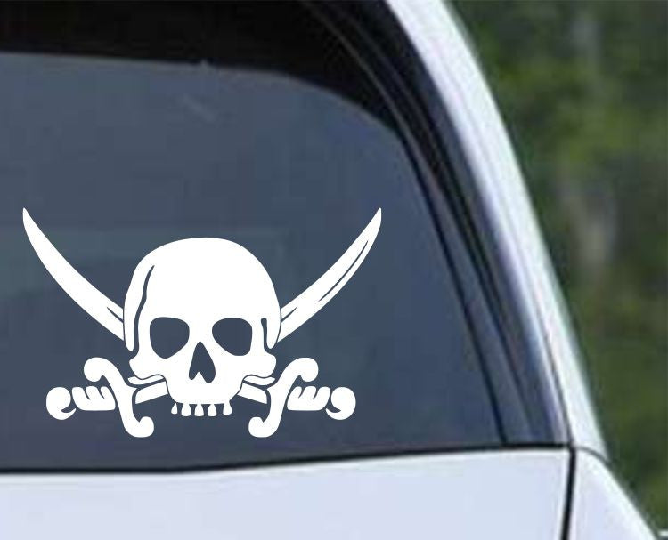 Pirate Skull and Cross Swords (ver e) Die Cut Vinyl Decal Sticker - Decals City
