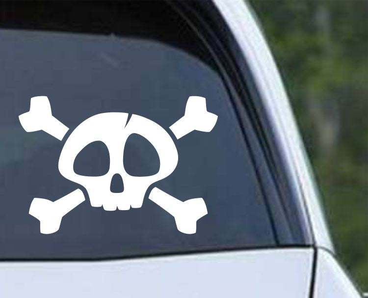 Pirate Skull and Crossbones Jolly Roger (ver b) Die Cut Vinyl Decal Sticker - Decals City
