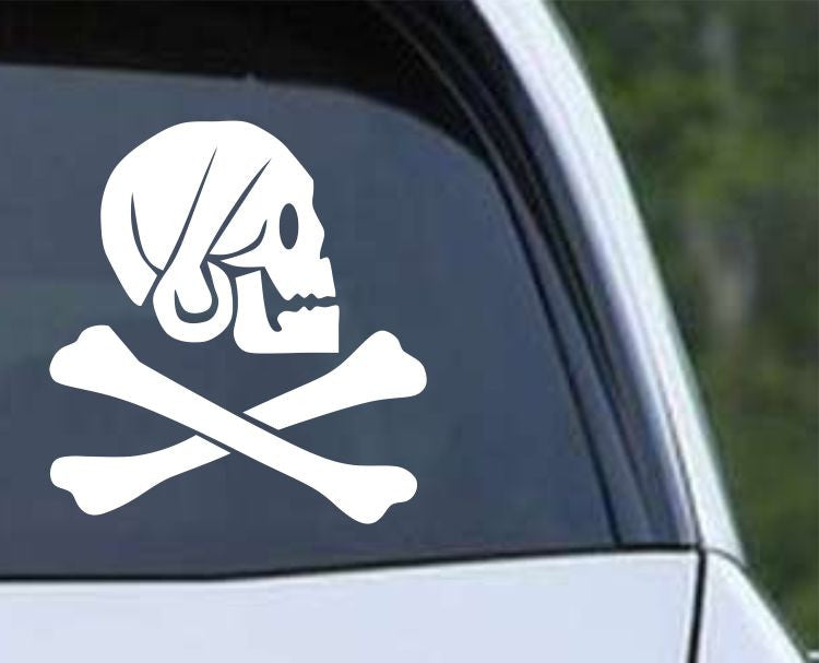 Pirate Skull and Crossbones Jolly Roger (ver c) Die Cut Vinyl Decal Sticker - Decals City