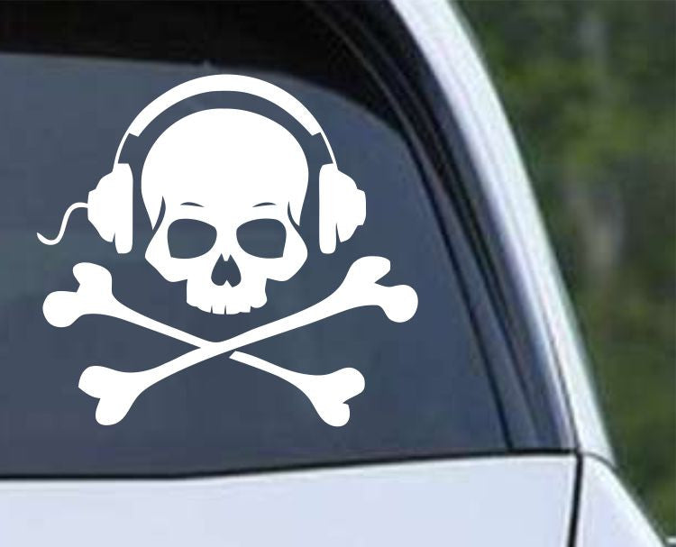Pirate Skull and Crossbones Jolly Roger (ver d) Die Cut Vinyl Decal Sticker - Decals City