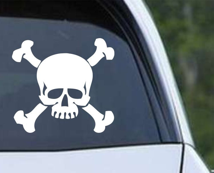 Pirate Skull and Crossbones Jolly Roger (ver e) Die Cut Vinyl Decal Sticker - Decals City
