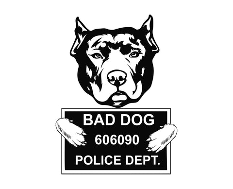 Pit Bull Bad Dog v1 Die Cut Vinyl Decal Sticker - Decals City