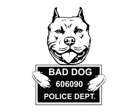 Pit Bull Bad Dog v2 Die Cut Vinyl Decal Sticker - Decals City