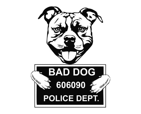 Pit Bull Bad Dog v3 Die Cut Vinyl Decal Sticker - Decals City