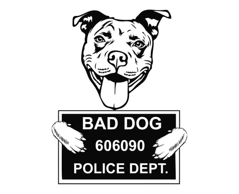 Pit Bull Bad Dog v4 Die Cut Vinyl Decal Sticker - Decals City