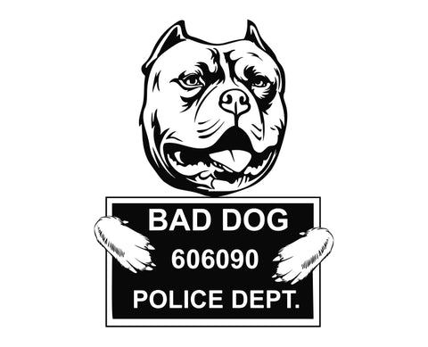 Pit Bull Bad Dog v7 Die Cut Vinyl Decal Sticker - Decals City