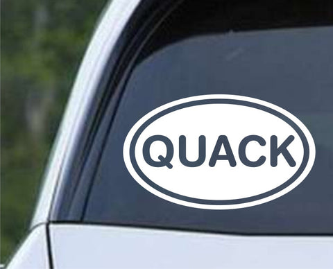 Quack Funny Duck Euro Oval Die Cut Vinyl Decal Sticker