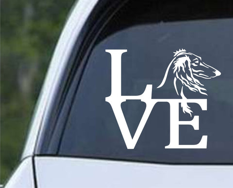 Saluki Afghan Hound Dog Love Die Cut Vinyl Decal Sticker