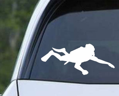 Scuba Diving Silhouette v11 Die Cut Vinyl Decal Sticker - Decals City