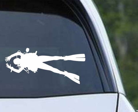 Scuba Diving Silhouette v14 Die Cut Vinyl Decal Sticker - Decals City