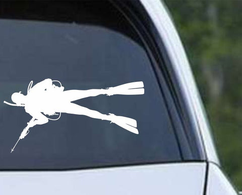 Scuba Diving Silhouette v17 Die Cut Vinyl Decal Sticker - Decals City