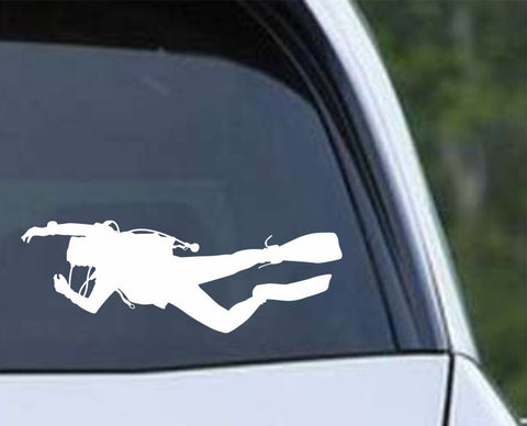 Scuba Diving Silhouette v21 Die Cut Vinyl Decal Sticker - Decals City