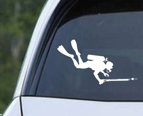 Scuba Diving Silhouette v7 Die Cut Vinyl Decal Sticker - Decals City
