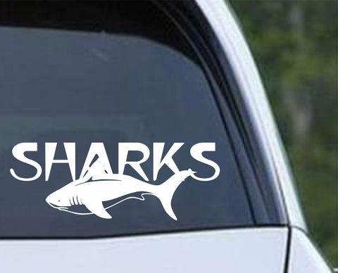 Shark - Sharks Mascot Die Cut Vinyl Decal Sticker - Decals City