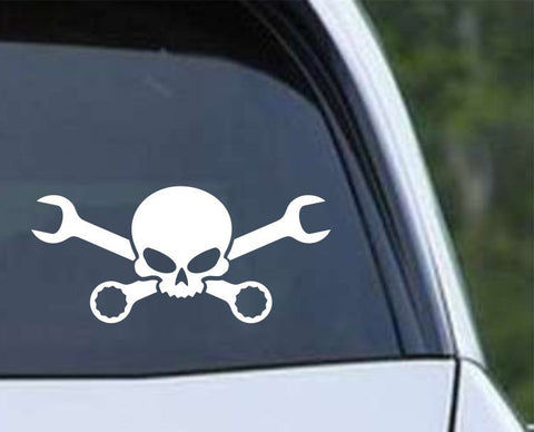Skull Cross Wrenches Die Cut Vinyl Decal Sticker - Decals City