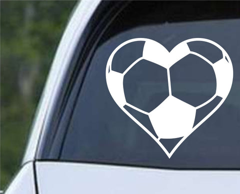 Soccer Ball Heart Die Cut Vinyl Decal Sticker