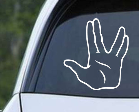 Star Trek - Spoke Vulcan Salute v3 Die Cut Vinyl Decal Sticker - Decals City