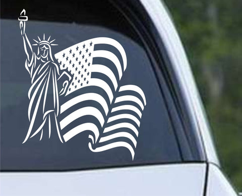Statue of Liberty with American Flag Patriotic Die Cut Vinyl Decal Sticker