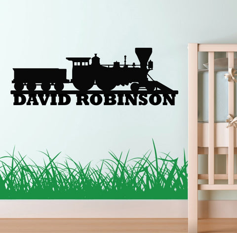 Train with Name Die Cut Vinyl Decal Sticker