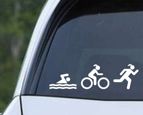 Triathlon Swim Run Bike Ironman v3 Die Cut Vinyl Decal Sticker - Decals City
