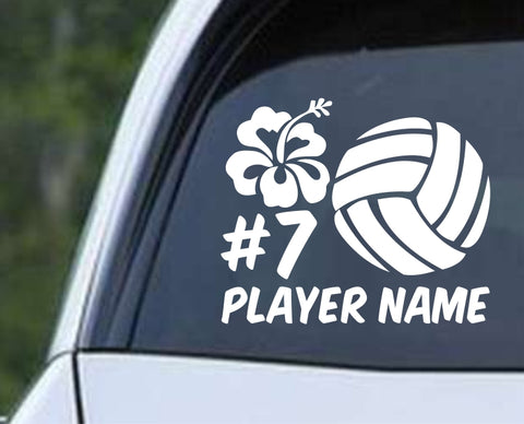 Volleyball - Hibiscus Personalized Name and Number Die Cut Vinyl Decal Sticker - Decals City