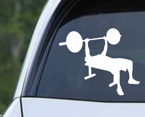 Weight Lifter on Bench Die Cut Vinyl Decal Sticker