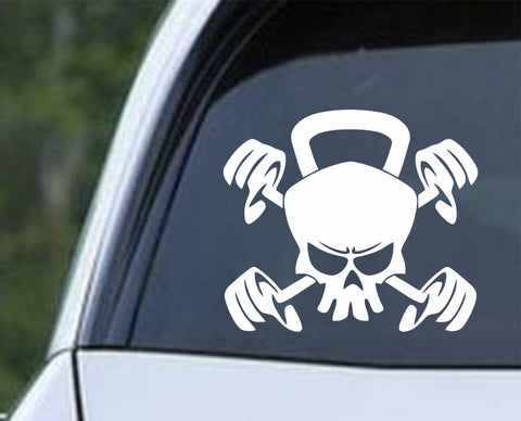 Weight Lifting - Skull Kettle Bell Dumb Bells Die Cut Vinyl Decal Sticker
