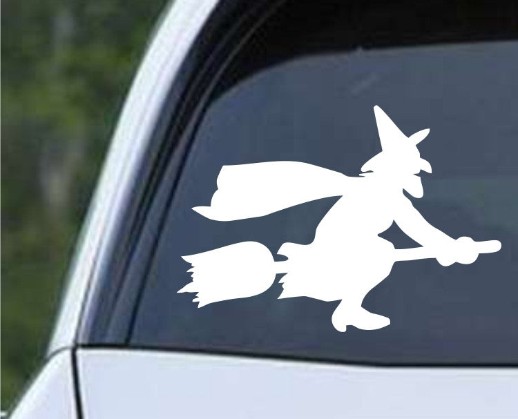 Witch on Broom Die Cut Vinyl Decal Sticker - Decals City