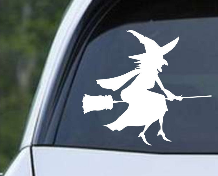 Witch on Broom (c) Die Cut Vinyl Decal Sticker - Decals City