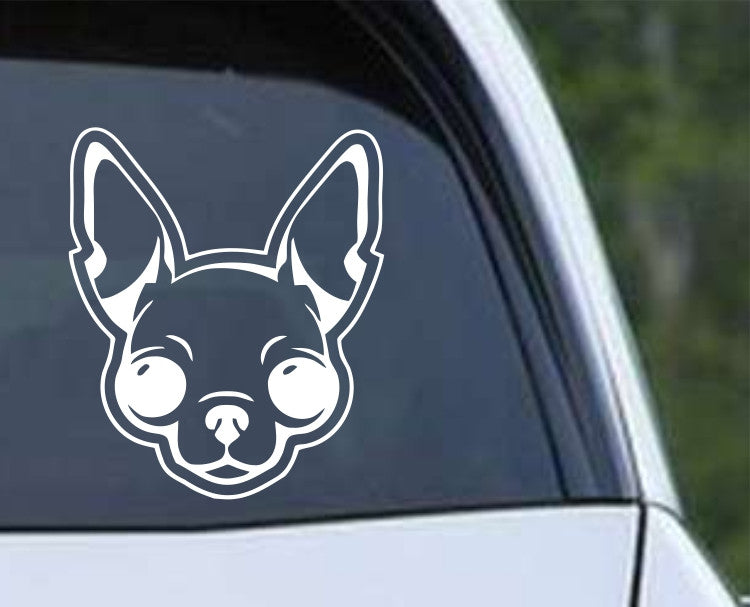 Apple Head Chihuahua Dog Die Cut Vinyl Decal Sticker