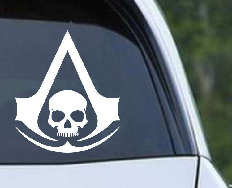 Black Flag Assassin's Creed Pirate Skull Die Cut Vinyl Decal Sticker - Decals City