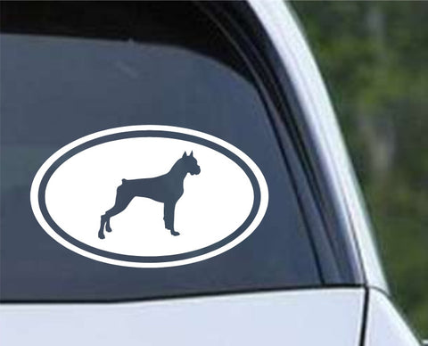 Boxer Dog Euro Oval Die Cut Vinyl Decal Sticker - Decals City