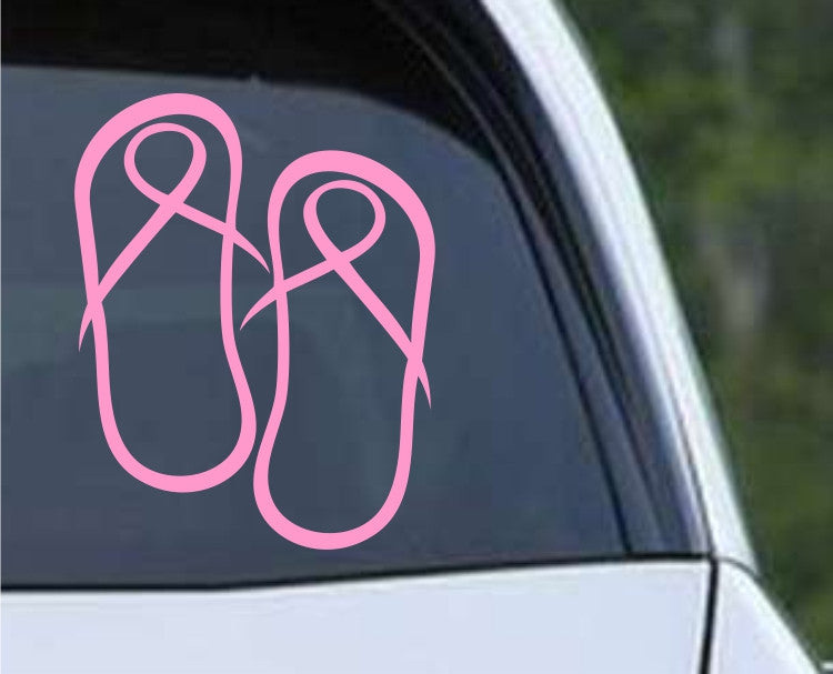 Flip Flops Breast Cancer Ribbon Die Cut Vinyl Decal Sticker - Decals City