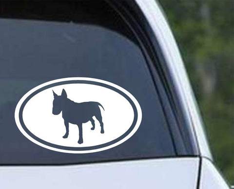 Bull Terrier Dog Silhouette Euro Oval Die Cut Vinyl Decal Sticker