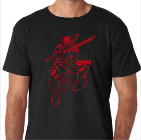 Deadpool Jumping Custom Made T-Shirt - Decals City