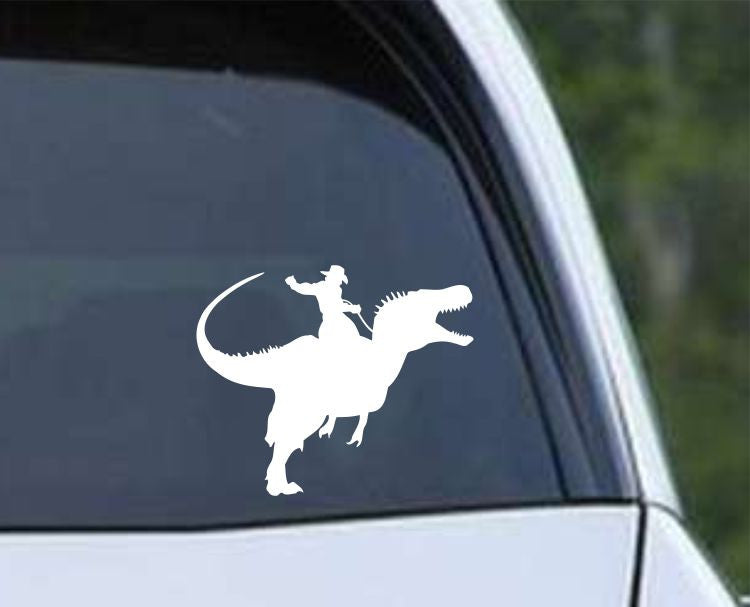 Dinosaur Raptor Cowboy Die Cut Vinyl Decal Sticker - Decals City