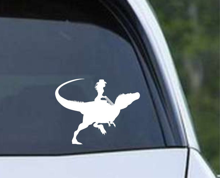 Dinosaur Raptor Cowgirl Die Cut Vinyl Decal Sticker - Decals City