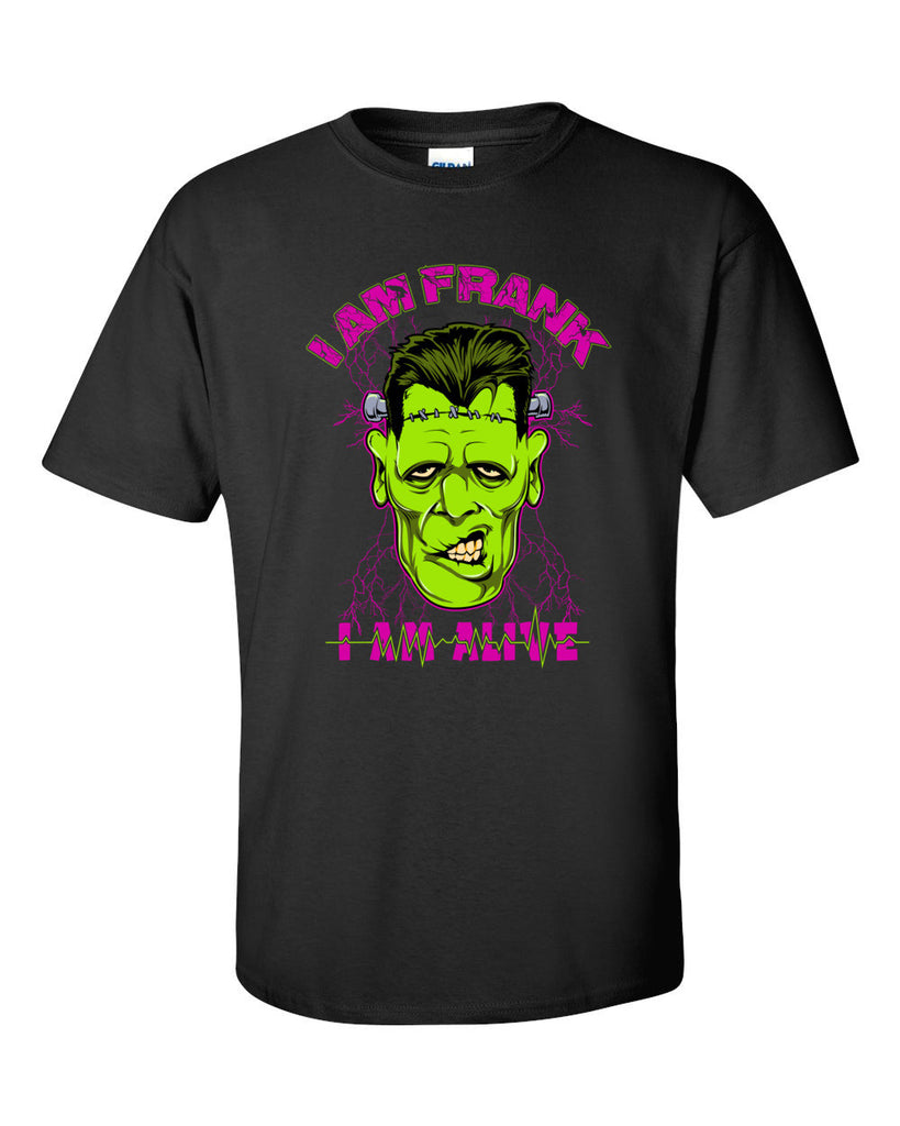 I Am Frank Funny Frankenstein Short Sleeve T-Shirt up to 5XL - Decals City