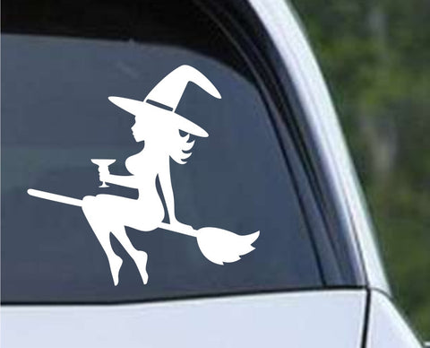 Mudflap Witch on Broom with Wine Glass Die Cut Vinyl Decal Sticker - Decals City