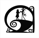 The Nightmare Before Christmas Jack and Sally on the Hill Die Cut Vinyl Decal Sticker - Decals City