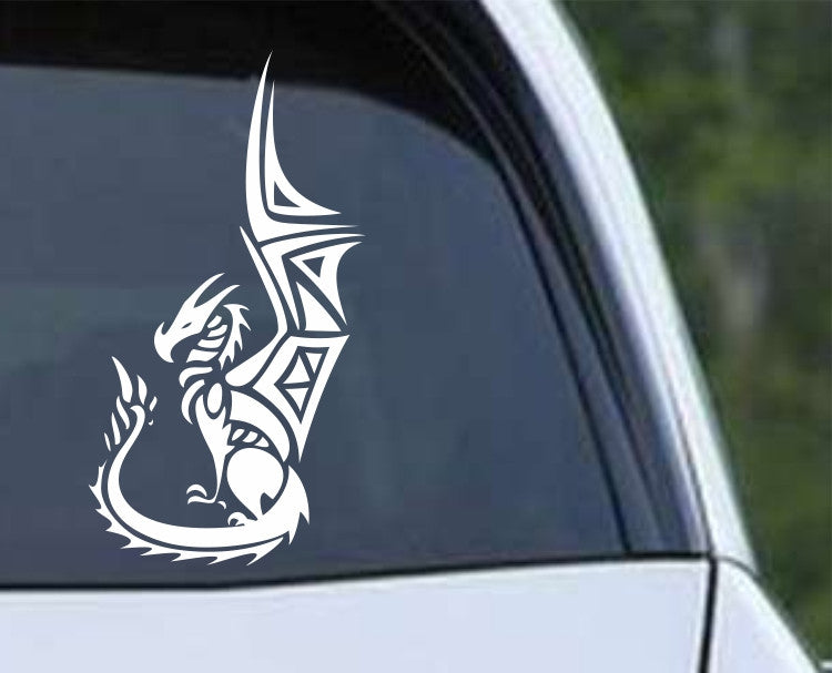 Tribal Sitting Dragon Die Cut Vinyl Decal Sticker