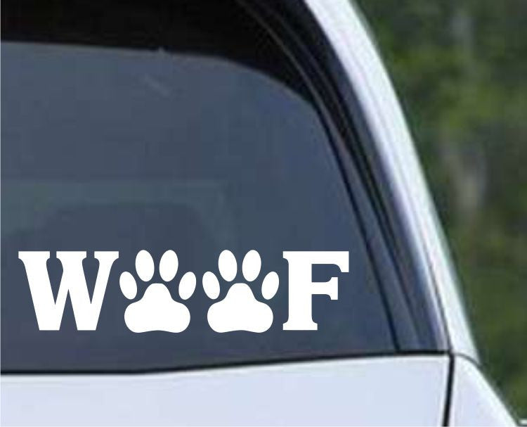 Woof Cute Dog Die Cut Vinyl Decal Sticker