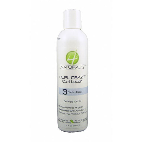 4 Naturals Curl Craze Curl Lotion Curly Kinky - 8oz bottle