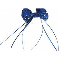 Hair Bow - small cloth hairbow with dots and streamer