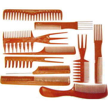 Bone Comb Set - style: Pack of 10 assorted hair combs and hair piks